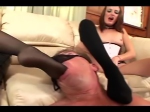 Two blondes facesitting and kinky footjob in stockings