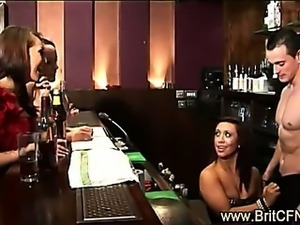 British girls on night out strip lucky bar tender