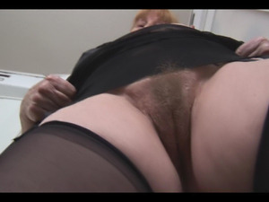 Busty hairy granny in stockings panty and upskirt tease