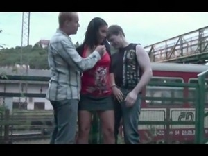 Public sex - public threesome at a train station