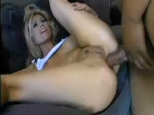 Hot blonde babe takes on 2.  Very rare when she takes it in the ass.