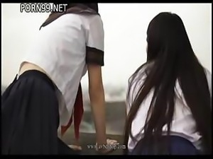 Japanese schoolgirls are made to hang around before getting fucked