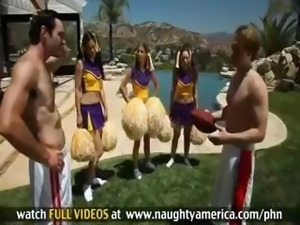 Presley Hart is a skinny young bimbo cheerleader with small boobies who gets...