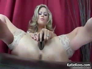 Blonde pornstar Katie Kox stuffs her big part1