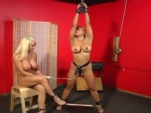 Big tits blonde mistress torturing horny lesbian slut slave