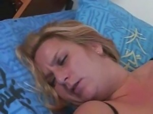Chubby French blonde goes down on his cock and then rides it