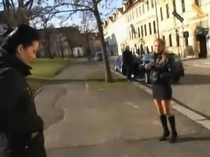 Cute czech girls having fun in public places