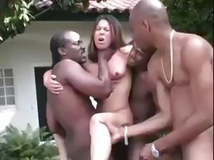 Brunette Ashley gets three big black cocks outside and gets hammered