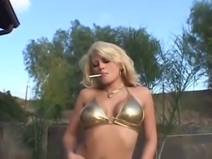 Extreme anal submission with busty blonde cum eating slut