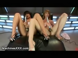 Two babes machine fuck one by o ... free
