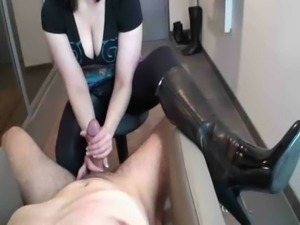 Girl in leather boots gives goo ... free