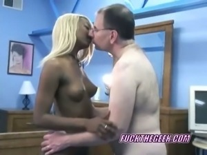 Blonde ebony chick sloppy blowjob on old white pops