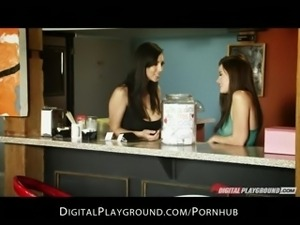 Two sexy brunettes Jelena Jensen & Raven Alexis toy each other