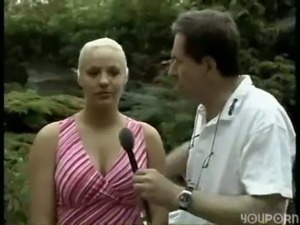 Interview with cute blonde befo ... free