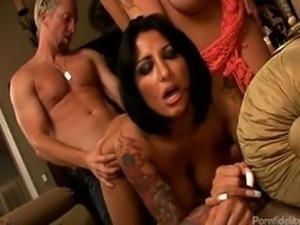 Sexy Tattooed Lady Mechanic Fucks Busty Wife and Husband
