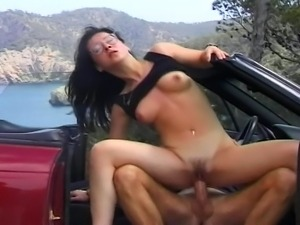 Hitch-hiking has never been this fun for this naughty brunette slut.