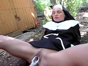 Horny nun got lost and she needs someone to help her... but she gets more...