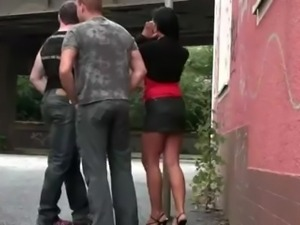 STREET GROUP GANGBANG action with a cute young girl PART 1