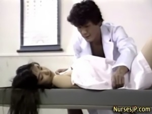Asian nurse bitch gets a cumshot free