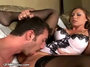 Blonde Gets Pussy Eaten Around Her Panties