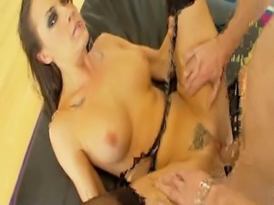 Thick 5 foot 8 inch brunette with fake 32D tits does anal, DP, and gets 2 big...