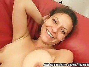 Amateur girlfriend toys and sucks with cum in mouth