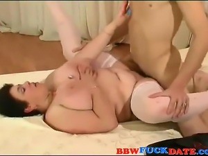Dirty fat woman seducing slim guy to lick her big cunt