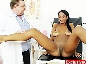 Weird gyno doctor checks hot latina pussy
