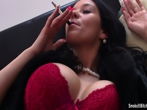 watch this posh slut enjoying a smoke break during XXX filming...