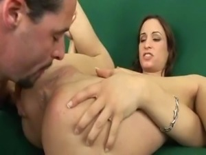 Amber Rayne gives a blowjob and eats a guy's ass.