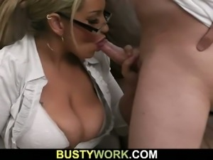 Busty milf spreads legs for big dick