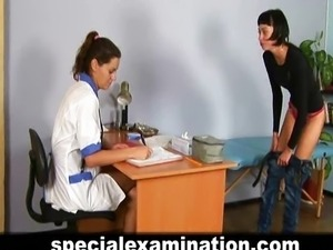 A special gyno exam for skinny brunette girl