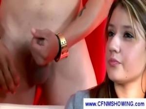 Girls watch as a guy masturbate ... free