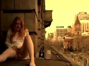 Adventurous Girl Cums on Window Ledge
