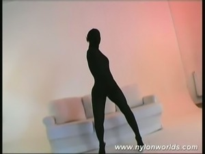 Hot blonde babe stripping nylon
