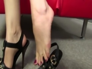 Brunette gets feet and tits out free