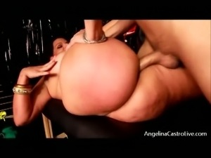 Busty brunette bbw angelina castro sucks and fucks