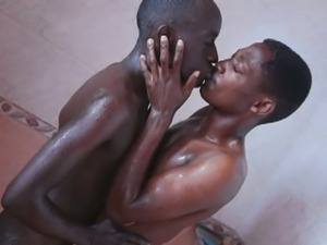 Shower sex for african twinks