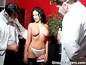 Nice looking slut with big boobs gets