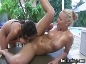 Horny amateur girls toying and fondling one another outdoor