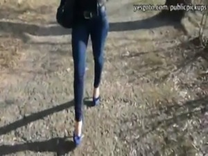 Horny amateur brunette Katarina gets easily talked into public sex free