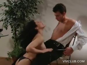 Sensual babe rubs tits against a dude