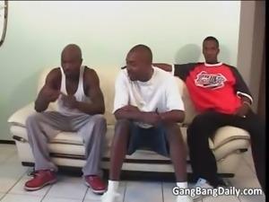 Awesome ebony bitch blows big black cock