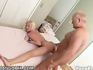 Blonde Teen Fucks And Sucks Old Cock