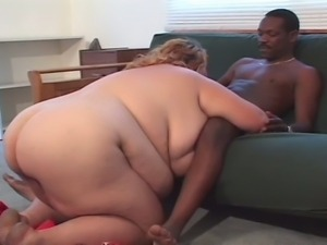 Fat blonde life guard enjoys black dick