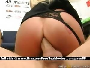 Busty naked blonde slut at work