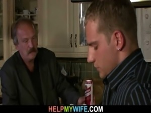 Old hubby watches a guy bangs his young wife free