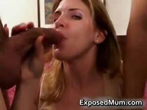 Hot mom taking on two big cocks part5