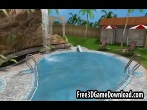 Three beautiful 3d cartoon babes have fun outdoors by the pool free