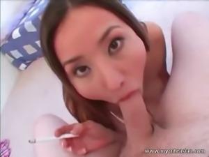 Cute Asian is a cock sucking machine!